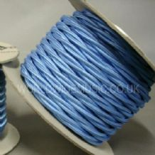 TWIST 2 Core Braided Fabric Cable Lighting Lamp Flex Vintage - SKY BLUE